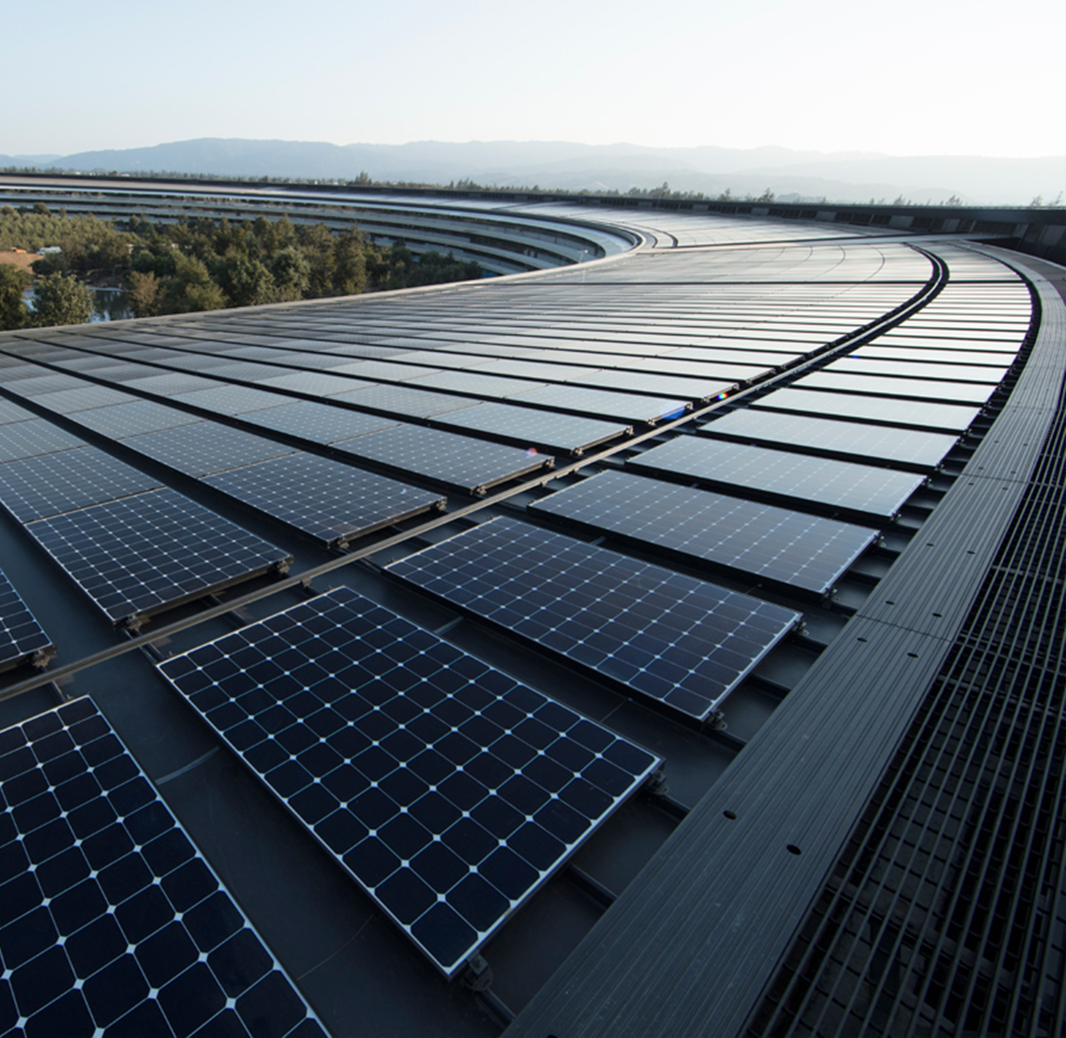 Solar arrays on the roof of Apple headquarters, Cupertino, California, United States